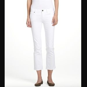 TORY BURCH White Cropped Slim Boot Cut Jeans